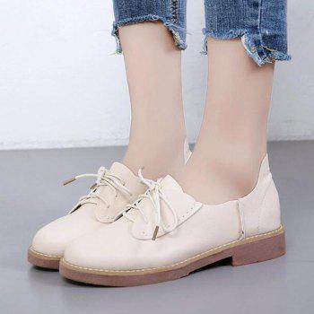 Solid Color Lace-Up  Flat Oxford Shoes - 36 36