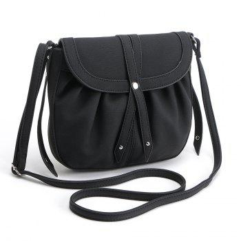 Ruffle Rivets Crosbody Saddle Bags - BLACK 1PC