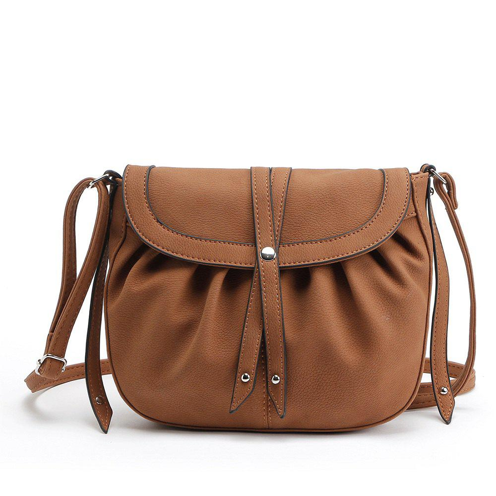 Women Small Crossbody Messenger Bags Pu Leather Saddle Ladies Shoulder Female Vintage - BROWN 1PC