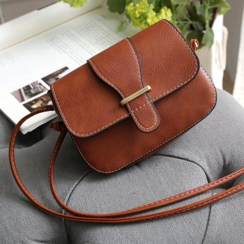 Solid Color Buckle Crossbody Bags - BROWN 1PC