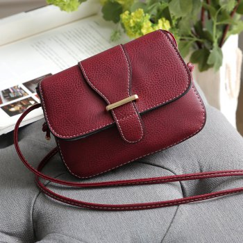 Solid Color Buckle Crossbody Bags - RED 1PC