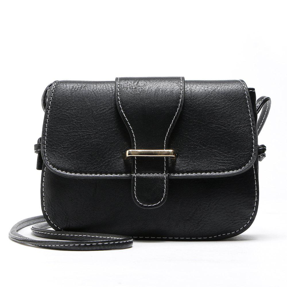 Solid Color Buckle Crossbody Bags - BLACK 1PC