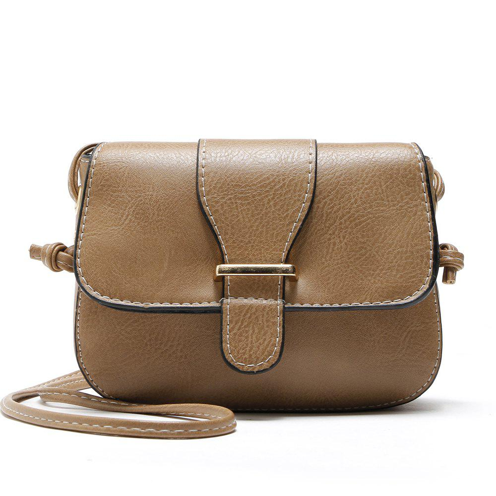 Solid Color Buckle Crossbody Bags - KHAKI 1PC