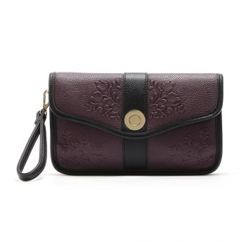 Color Block Embossed Clutch Bag