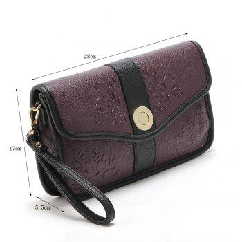 Color Block Embossed Clutch Bag - PURPLES 1PC