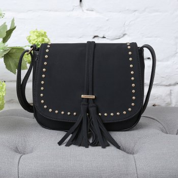 Rivets Tassels Crossbody Bags - BLACK 1PC