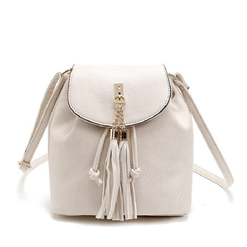Solid Color Metallic Tassels Crossbody Bag - BEIGE 1PC