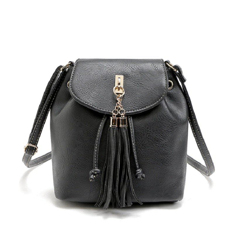 Solid Color Metallic Tassels Crossbody Bag - BLACK 1PC