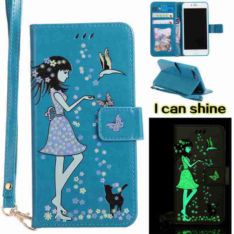 Women Cat Luminous Painted Pu Phone Case for iphone 6 6S gumai silky case for iphone 6 6s black