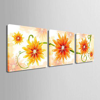 Yc Special Design Frameless Paintings Gorgeous Three Chinese Rose Flower of 3 - ORANGE 23 X 23 INCH (60CM X 60CM)
