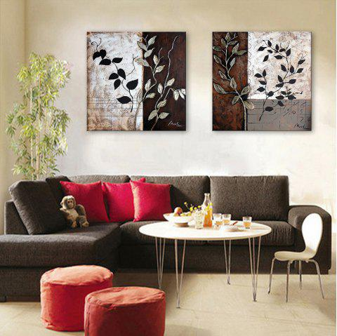 Yc Special Design Frameless Paintings Leaf of 2 - BLACK WHITE 15 X 15 INCH (40CM X 40CM)