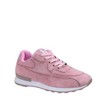 Solid Color Lace-Up Sport Shoes - PINK 35