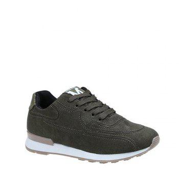 Solid Color Lace-Up Sport Shoes - HAMPTON GREEN 35