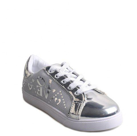 Letter Printed Lace-Up Flat Shoes - SILVER 38