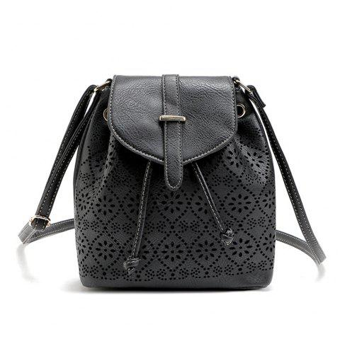 Hollow Out Solid Color Draw Crossbody Bag - BLACK 1PC