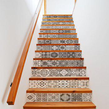 Ceramic Tiles Patterns Style 13 Pieces Stair Sticker Wall Decor - MIX COLOR 18 X 100CM X 13 PIECES