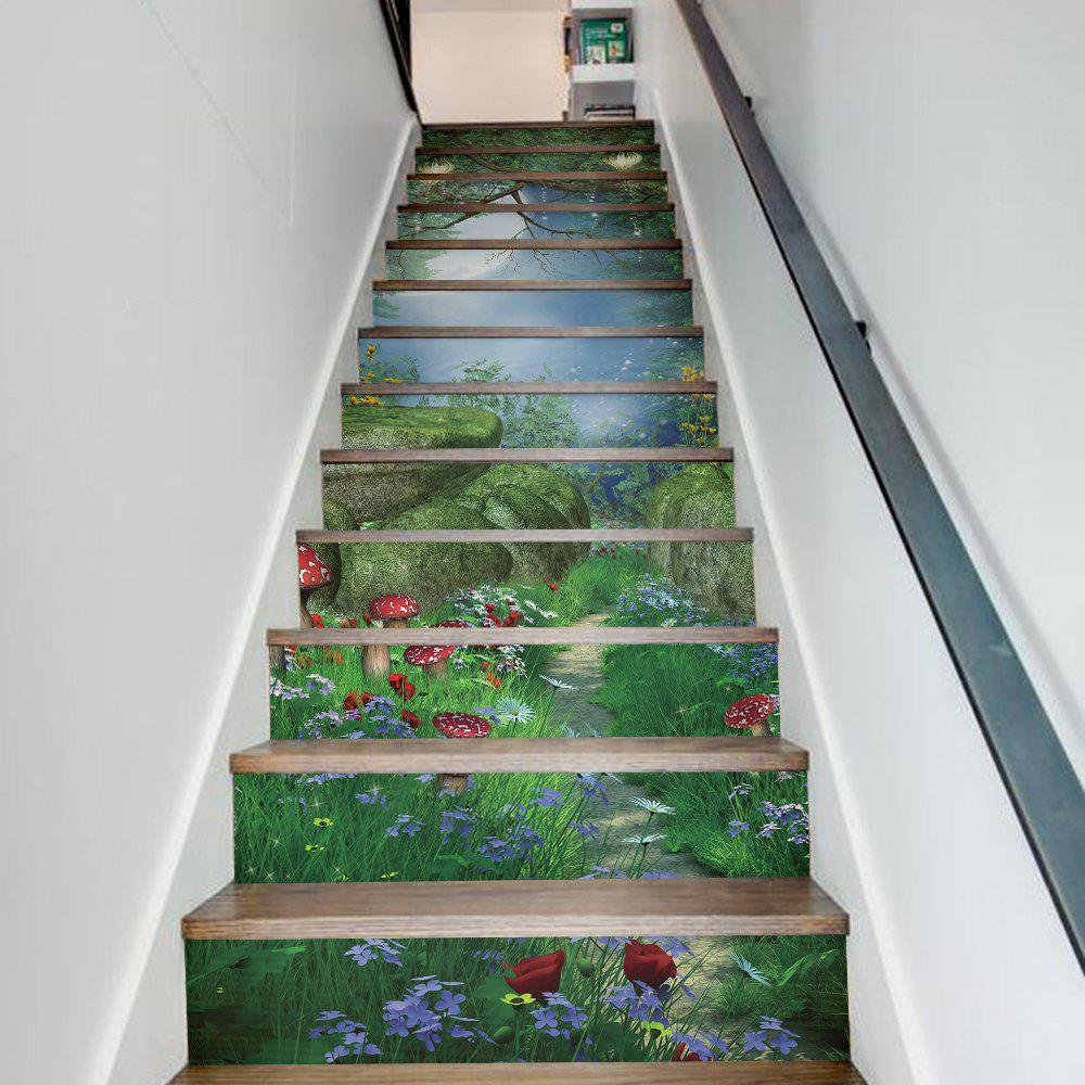 40 Ways To Decorate Your Staircase Wall 2018: 2018 Magic Forest Style 13 Pieces Stair Sticker Wall Decor