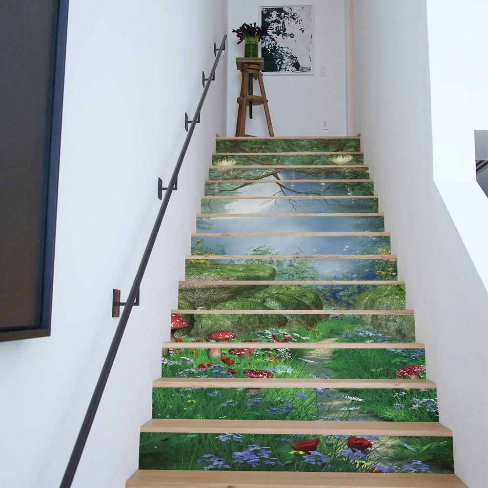 Online Home Furnishings: 2018 Magic Forest Style 13 Pieces Stair Sticker Wall Decor