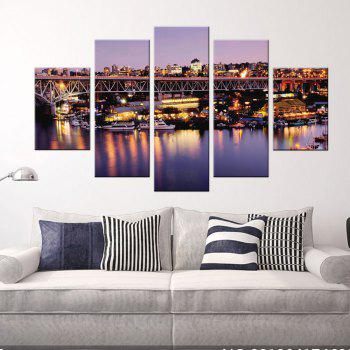 Yhhp 5 Panels Busy Night Scene Picture Print Modern Wall Art On Canvas Unframed - COLORMIX