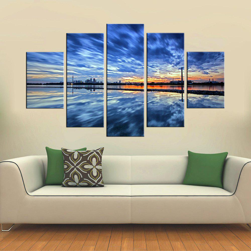 Yhhp 5 Panels Blue Sky Picture Print Modern Wall Art On Canvas Unframed - CORNFLOWER