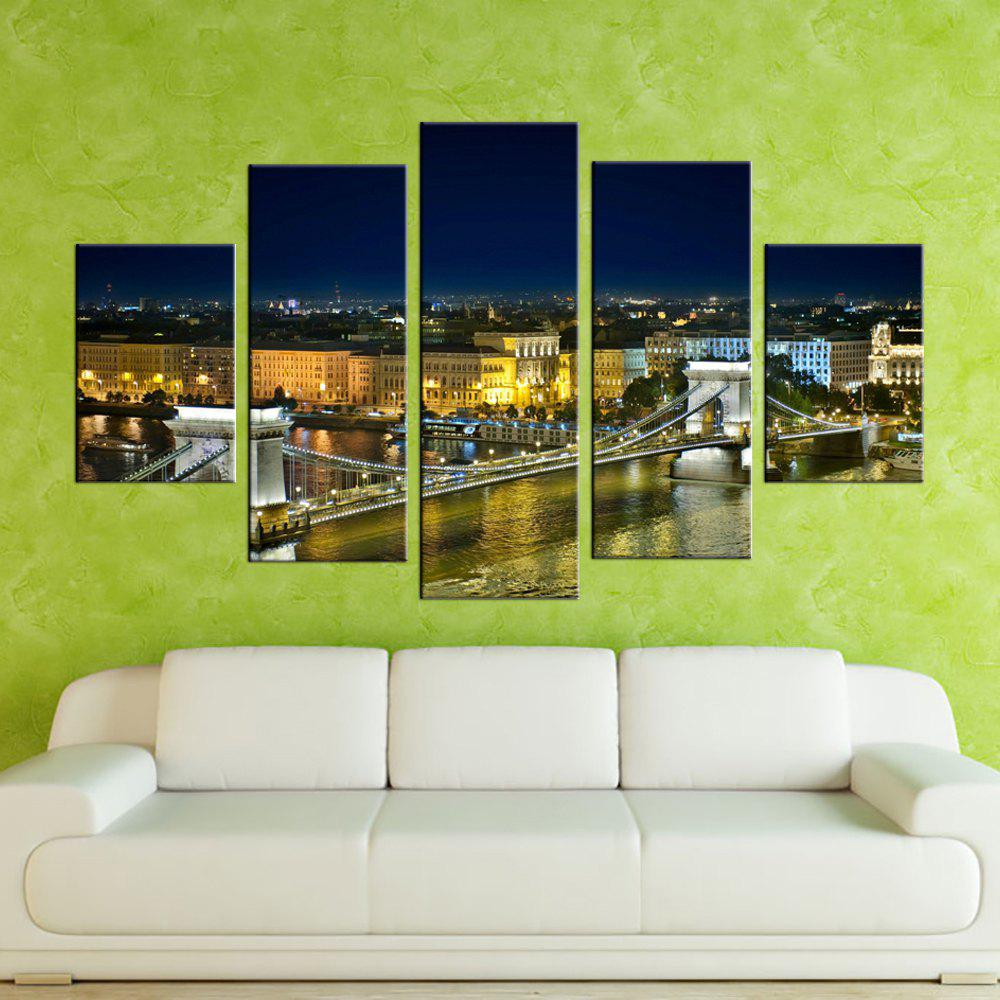 Yhhp 5 Panels Bridge Night View Picture Print Modern Art mural Sur Toile Sans cadre - multicolore