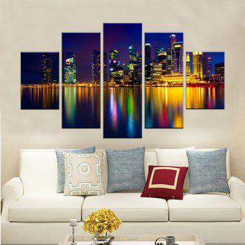 Yhhp 5 Panels Night Scene with Bright Lights Picture Print Modern Wall Art On Canvas Unframed - COLORMIX