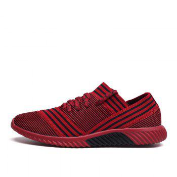 Lace-Up Striped Sport Shoes - RED RED