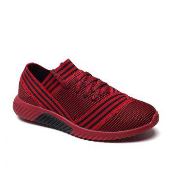 Lace-Up Striped Sport Shoes - RED 40