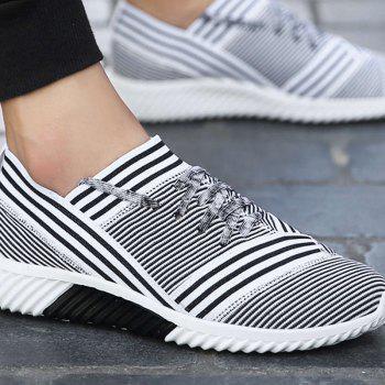 Lace-Up Striped Sport Shoes - WHITE WHITE