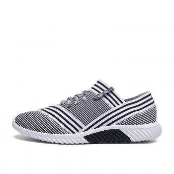 Lace-Up Striped Sport Shoes - 39 39