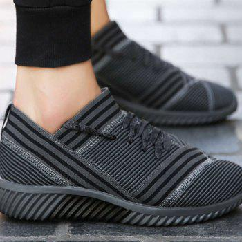 Lace-Up Striped Sport Shoes - GRAY GRAY