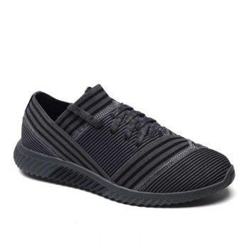 Lace-Up Striped Sport Shoes - GRAY 42