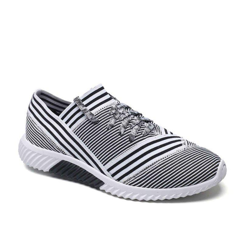 Lace-Up Striped Sport Shoes - WHITE 42