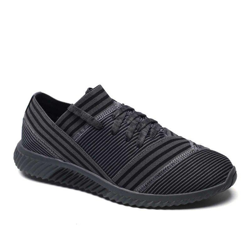 Lace-Up Striped Sport Shoes - GRAY 44