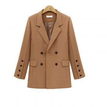 Solid Color Double Breasted Blazer - CAMEL XL