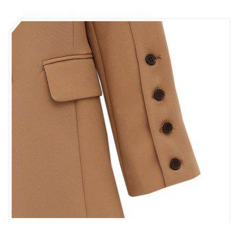 Solid Color Double Breasted Blazer - CAMEL S