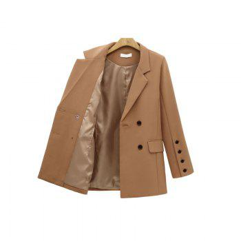 Solid Color Double Breasted Blazer - CAMEL L