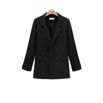 Solid Color Double Breasted Blazer - BLACK L