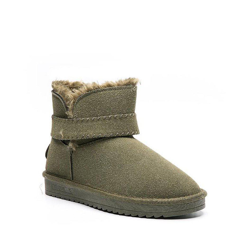Solid Color Buckle Snow Boots - GREEN 38