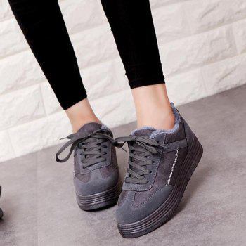 Patchwork Seam Fur Chaussures Casual - gris 37