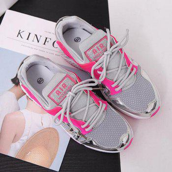 Breathable Patchwork Lace-Up Sneakers - 38 38