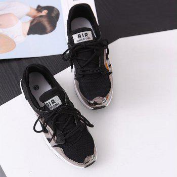 Breathable Patchwork Lace-Up Sneakers - 39 39