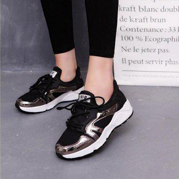 Breathable Patchwork Lace-Up Sneakers - BLACK BLACK
