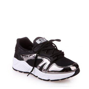 Breathable Patchwork Lace-Up Sneakers - BLACK 35
