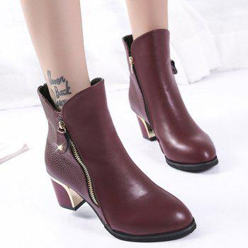 Zippered Chunky Heel Short Boots - WINE RED 35