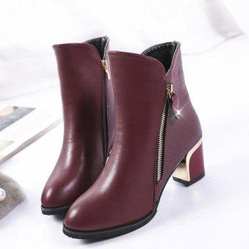 Zippered Chunky Heel Short Boots - WINE RED 34