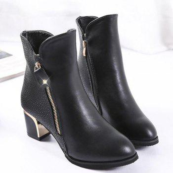 Zippered Chunky Heel Short Boots - BLACK BLACK