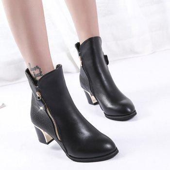 Zippered Chunky Heel Short Boots - BLACK 38