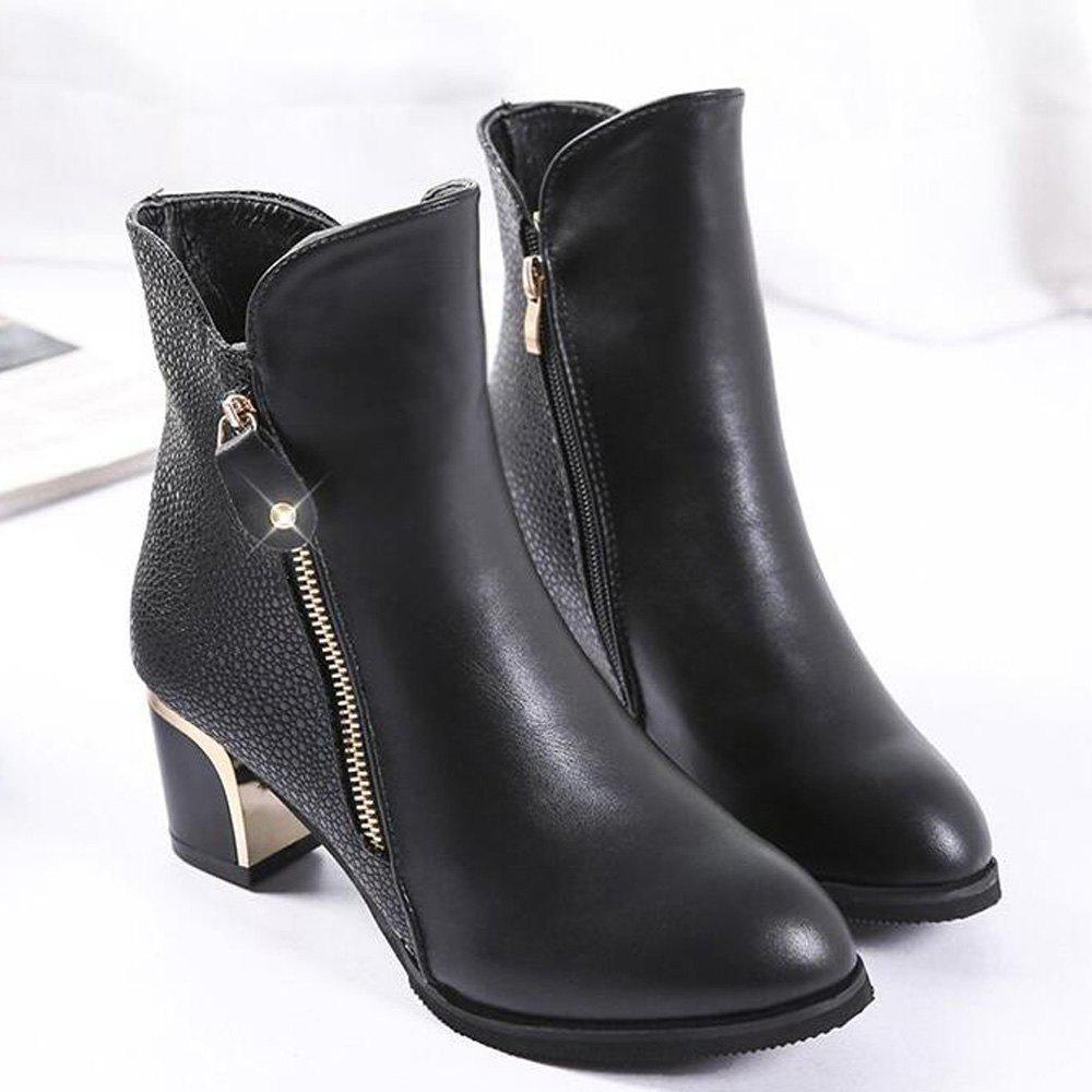 Zippered Chunky Heel Short Boots - BLACK 42