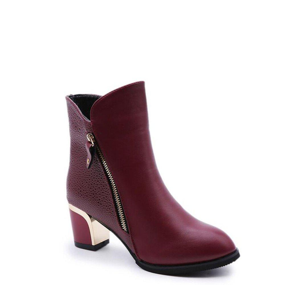 Zippered Chunky Heel Short Boots - WINE RED 38